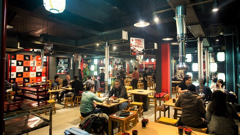 Không gian của một nhà hàng nướng Nhật Bản