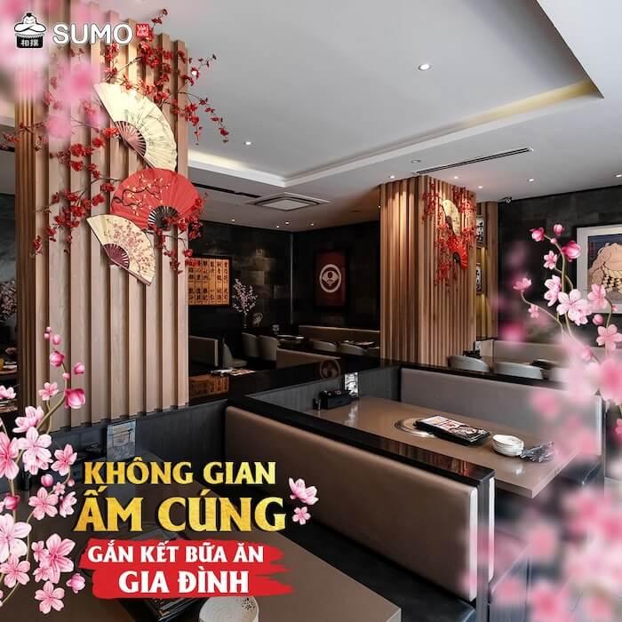 Không gian nhà hàng Sumo BBQ luôn rộng rãi, sang trọng và sạch sẽ theo phong cách Nhật